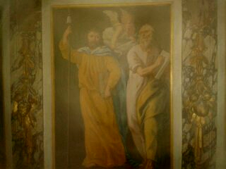 Thomas et Matthieu peinture murale Cath de Tours